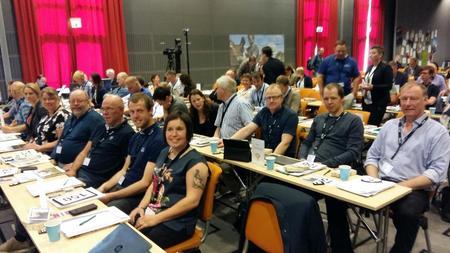 Blide representanter fra Sør-Trøndelag i årsmøtesalen under årsmøtet i Norges Bondelag