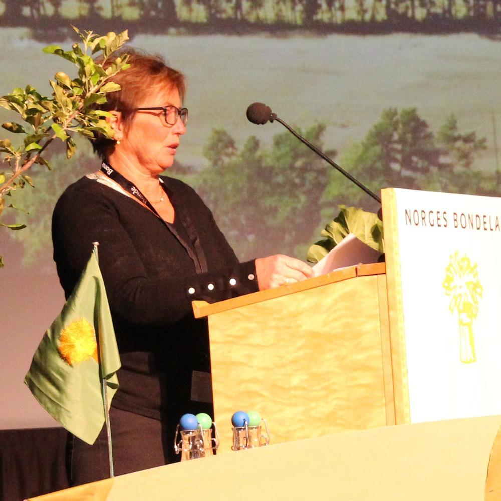 Wanja Rakvaag, styremedlem i Nordland Bondelag, argumenterte i sitt innlegg for en reduksjon av bestandsmålene for freda rovvilt.