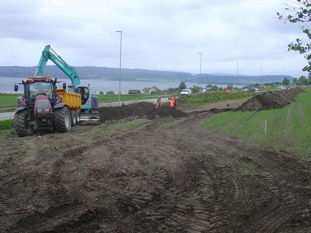 Fra utbygging av E6 i Steinkjer. Foto: Jon Inge Bragstad.