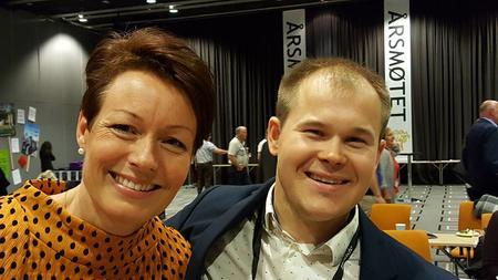 Landbrukspolitisk talskvinne for KRF Line Henriette Hjelmdal og nestleder i FB Markus Heiberg