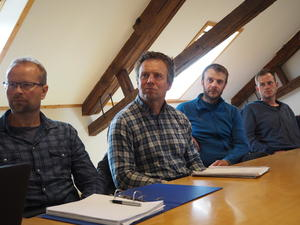 F.v. Eskil Brenne (leder Åsen Bondelag), Lorns Olas Aunsmo (styremedlem NTB), Håvard Gjermstad (leder Skogn Bondelag) og Asbjørn Løvås (Skogn Bondelag).