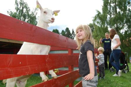 Madelen Brenden Olsen hilser på geita