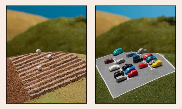 To bilder av samme areal; ett med matproduksjon og ett med parkeringsplasser