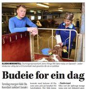 Klikk på avisbildet for å lese omtale i avisa Driva - Budeie for ein dag