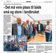 Klikk på avisbildet over for å lese omtale i Bygdebladet fra politisk matprat på Matfestivalen i Ålesund