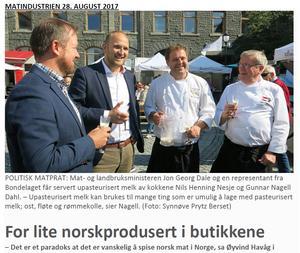 Klikk på avisbildet over for å lese omtale i bladet Matindustrien fra matpolitsk debatt på Matfestivalen i Ålesund