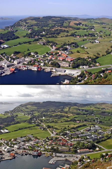 Før og etter fastlandsforbindelse Vikevåg Rennesøy