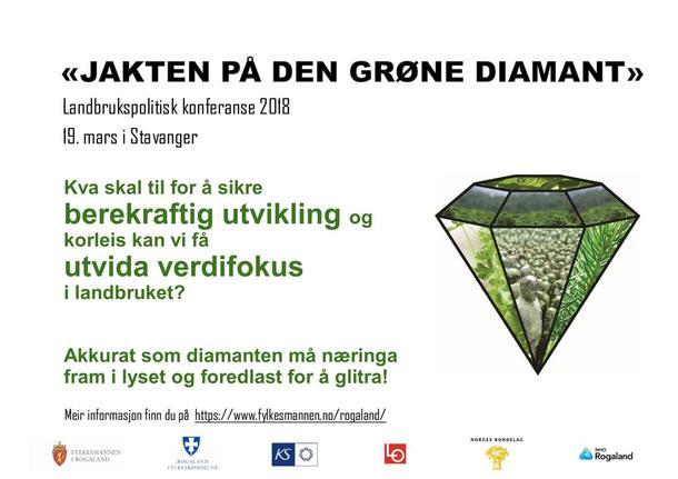 """""""Jakta på den Grøne diamant"""" er ein næringspolitisk konferanse på Clarion Hotel i Stavanger, 19. mars 2018."""