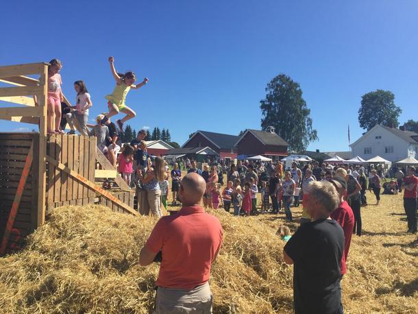 Hopping i høyet på Åpen Gård i Eidsvoll
