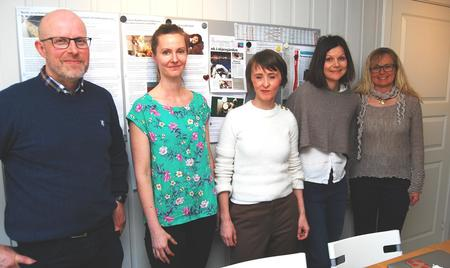 Fra venstre: Erling Aas-Eng, Helle Haukvik, Marianne Kulø, Live Kleveland og Margrete Nøkleby.