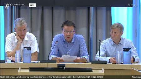 Høring i næringskomiteen om jordbruksavtalen. Skjermdump fra Stortingets nett-tv
