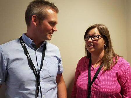 Kristian Bleken og Kristina Hegge holdt innlegg om henholdsvis soneinndeling og flomforebygging under årsmøtet i Norges Bondelag.