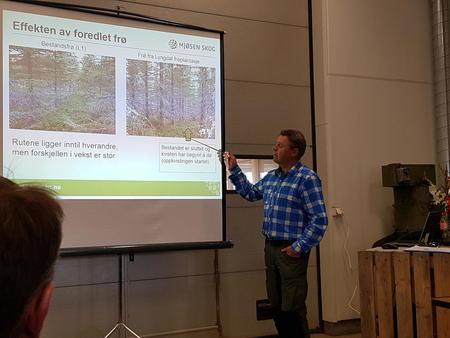 Øystein Nerby fra Mjøsen Skog viste hva vi kan oppnå når vi har fokus på god og strukturert oppfølging av treet gjennom hele livsløpet. Vi har mye å lære av presisjonsjordbruket, sa han.
