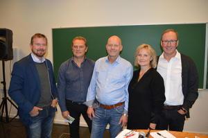 Fra venstre: Fylkesleder i Bondelaget, Oddvar Mikkelsen, leder i Norsk Sau og Geit, Kjell Erik Berntsen, leder i Norsvin, Geir Heggheim, leder i Nortura, Trine Hasvang Vaag og leder i TYR, Leif Helge Kongshaug.