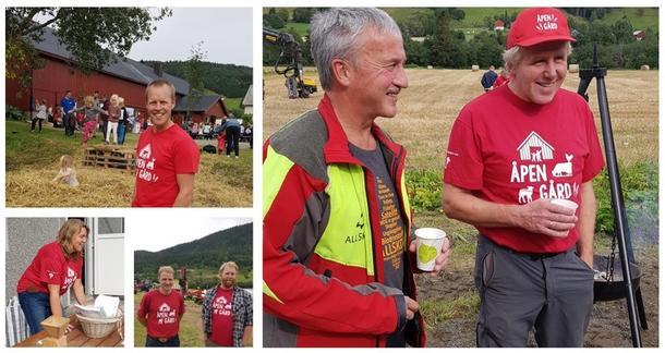 Blide arrangører av Åpen Gård i Rennebu iført røde Åpen Gård-t-skjorter
