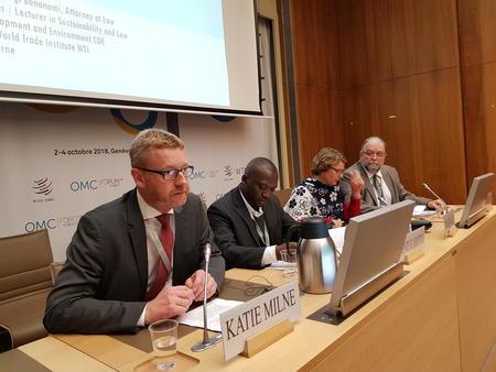 Nestleder i Bondelaget, Bjørn Gimming, innleder på WTO Public Forum, oktober 2018.