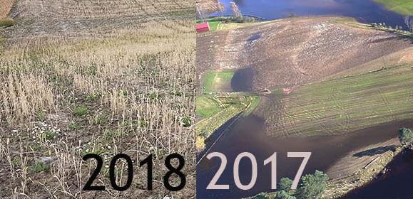Store klimakontraster, flom i 2017 og tørke i 2018.