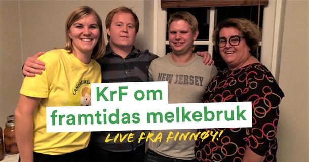 Landbrukspodden på Finnøy med Elisabeth Sæther, Ruben Eggebø, melkebonde Erik Bleie og nestleder Olaug Bollestad (KrF).