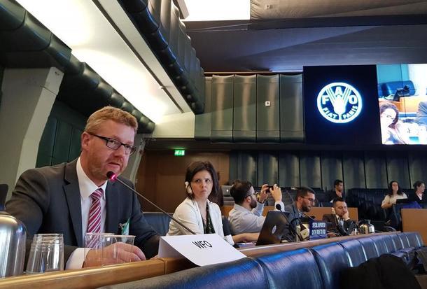 Bjørn Gimming i møte med FNs matsikkerhetskomite, oktober 2018