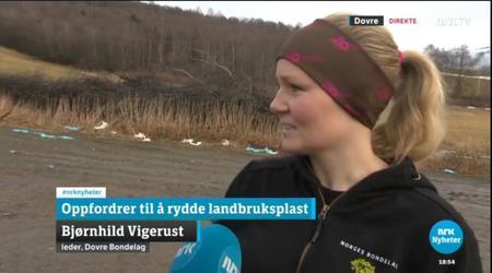 Leder i Dovre Bondelag, Bjørnhild Vigerust oppfordrer til plastrydding, her fra innslag på NRK i vår.