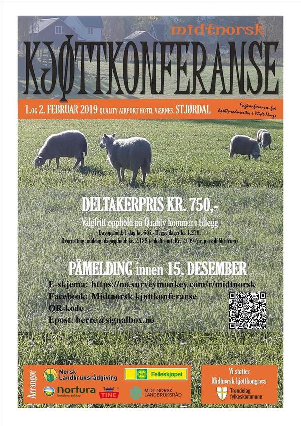 Plakat til midtnorsk kjøttkonferanse 1 og 2 februar 2019