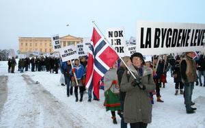 Med Vigdis Hjulstad Belbo og resten av aksjonskomiteen i front, gikk demonstrasjonstoget fra Stortinget til Slottet og tilbake igjen.