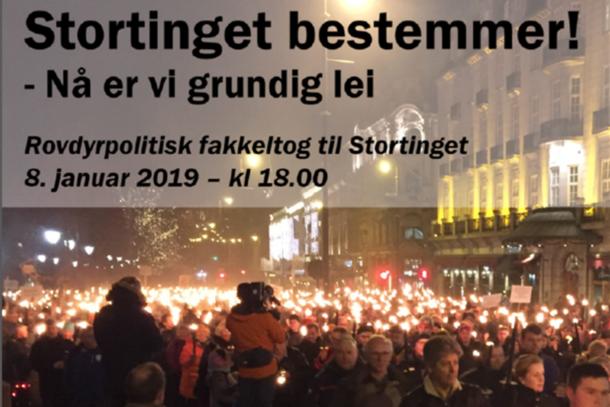 Rovdyrpolitisk fakkeltog i Oslo