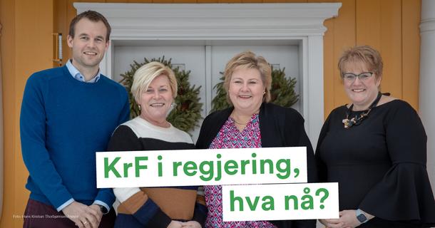 KrF inn i den borgerlige regjeringa. Foto: Hans Kristian Thorbjørnsen/ Høyre