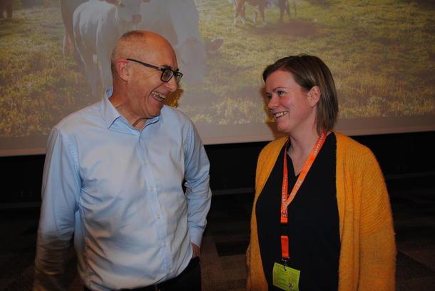 God stemning i dialogen rundt dyrevelferd. Harald Gjein i Mattilsynet og Anja F. Lillehaug i Bondelaget