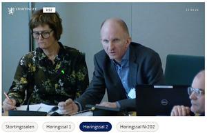 Torill Wikesland fra Norges Bondelag, Odd Harald Solheim fra Smøla og Arnar Lyche fra M&R Bondelag (Skjermdupp fra Stortingets nett-TV)
