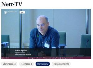 Organisasjonssjef i Møre og Romsdal Bondelag, Arnar Lyche (Skjermdupp fra Stortingets nett-TV)