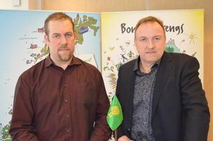Ny fylkesleder Konrad Kongshaug (t.v.) og ny nestleder Odd Bjarne Bjørdal.