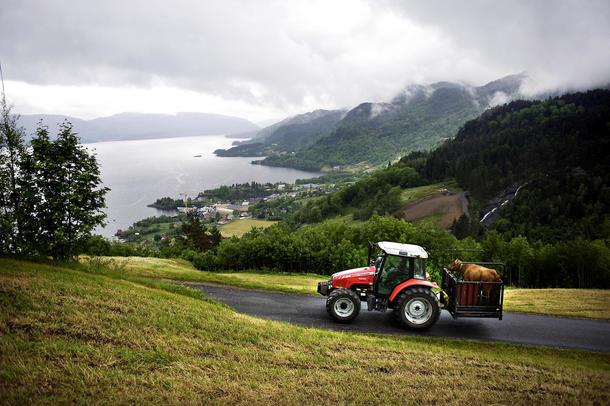 Traktor i jordbrukslandskap