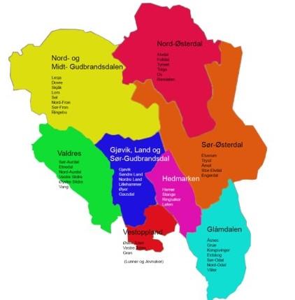 Innlandet Bondelags regioner