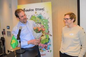 Fylkesleder Konrad Kongshaug og styremedlem i Norges Bondelag, Bodhild Fjelltveit.