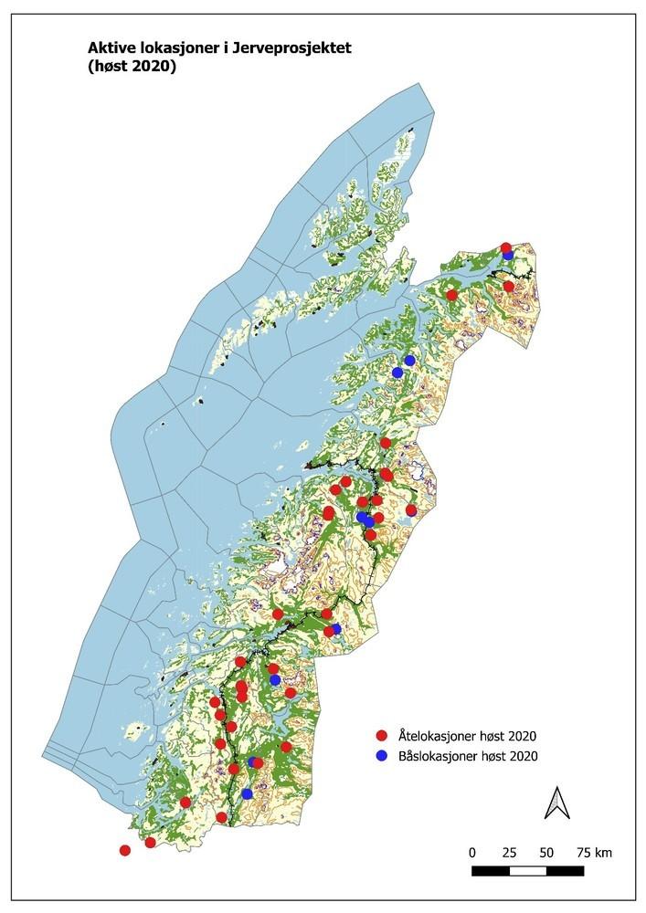 Oversikt over aktive prosjektlokasjoner sesongen 2020-21