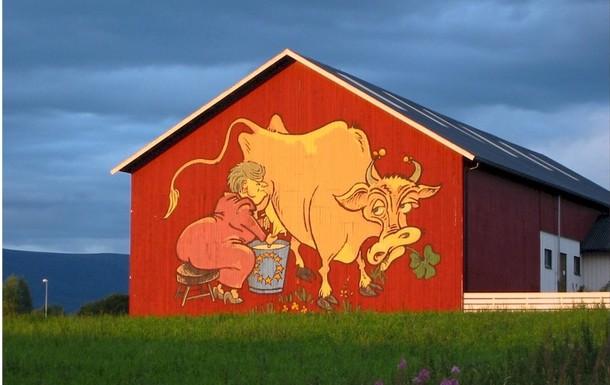 Bildet som ble et symbol på EU-kampen i 1994, malt på en låvevegg i Valdres. Foto: Otta2000.com