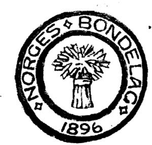 En tidlig variant av Norges Bondelags logo, tegnet av Gerhard Munthe.