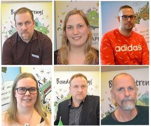 Fylkesstyret 2021-2022: Øverst fra venstre: fylkesleder Konrad Kongshaug, nestleder Anna Håland Berget og nyvalgt styremedlem Ørjan Stenerud. Nederst til venstre: Hilde Kjersem Kolberg, Odd Bjarne Bjørdal og 1. vara Audun Skjervøy.